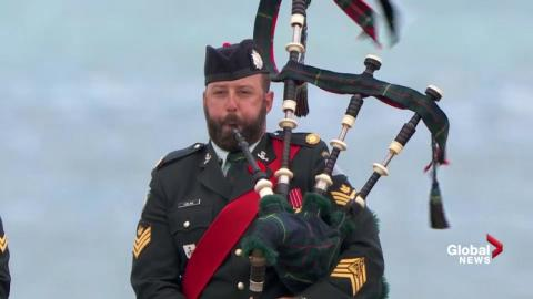 Stirring bagpipes on Juno Beach to mark 75th anniversary of D-Day