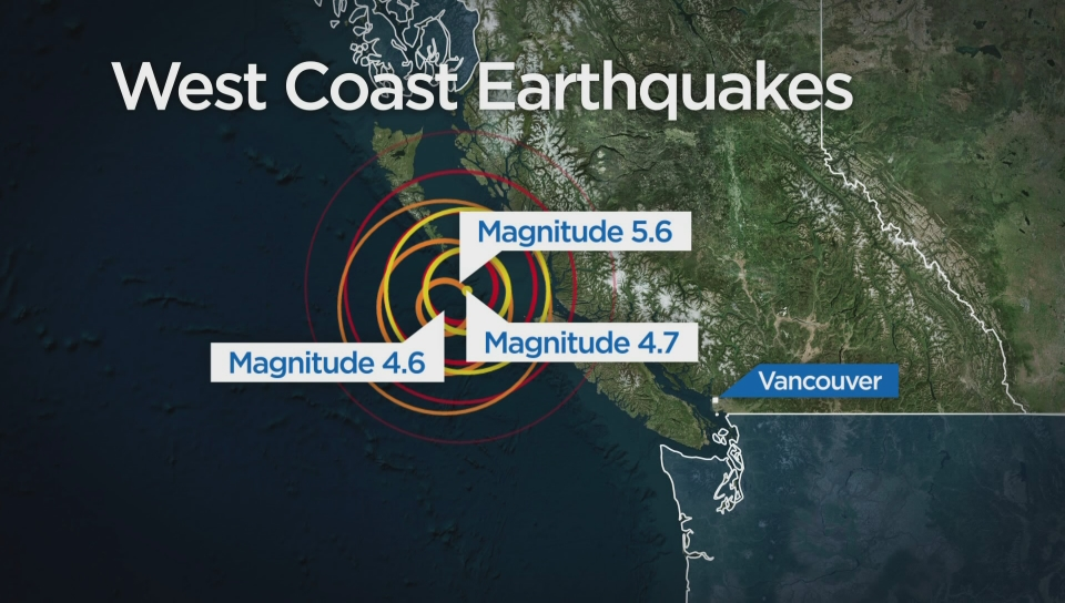 Series of earthquakes up and down B C  west coast raises natural disaster  concerns