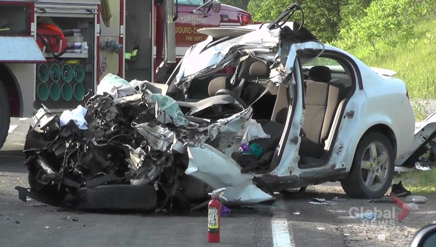 Two airlifted in Hwy 28 collision between car and well-drilling truck