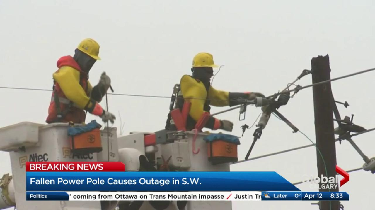 Fallen power pole causes outage in S.W. Calgary | Watch News Videos ...