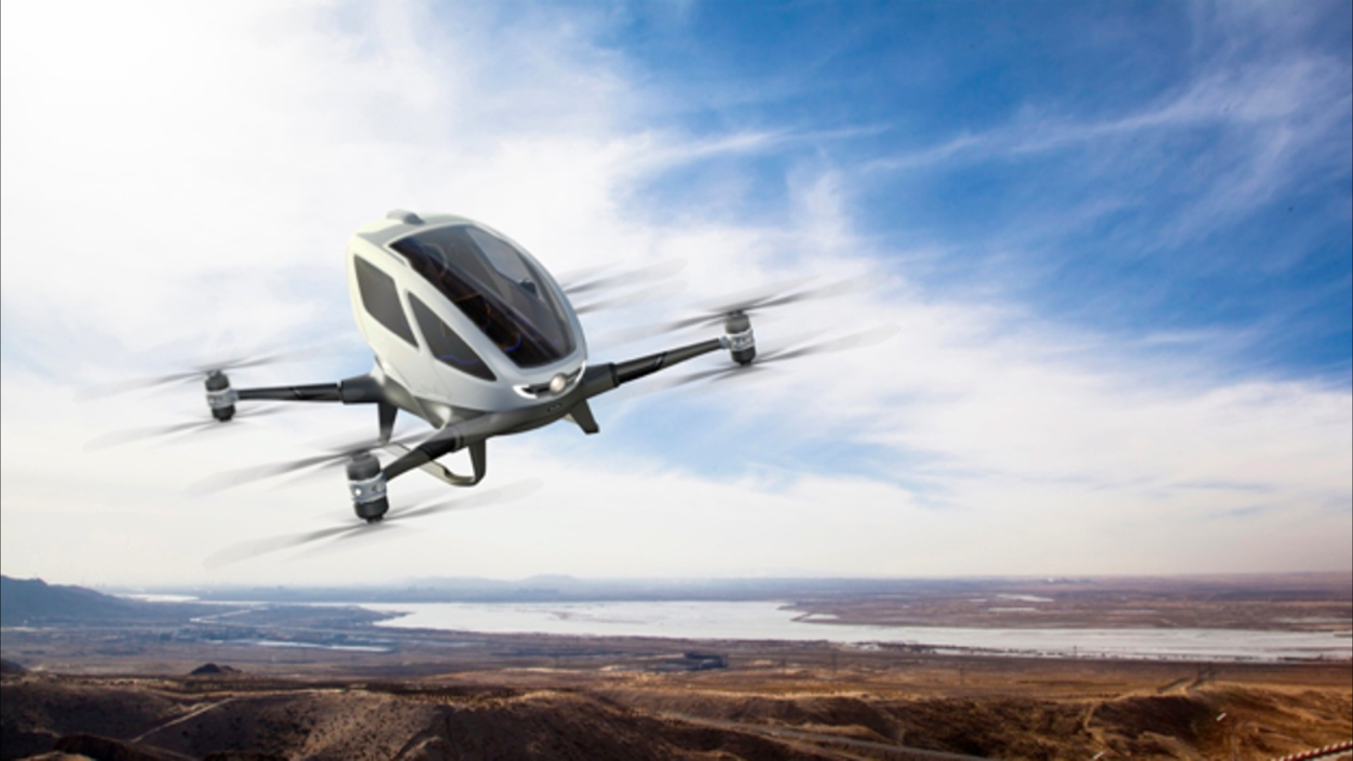 See the EHang 184: the first flying taxi drone to fly people in ...