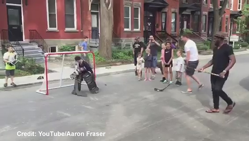 f894f0def0e PK Subban crashes local street hockey game in Montreal