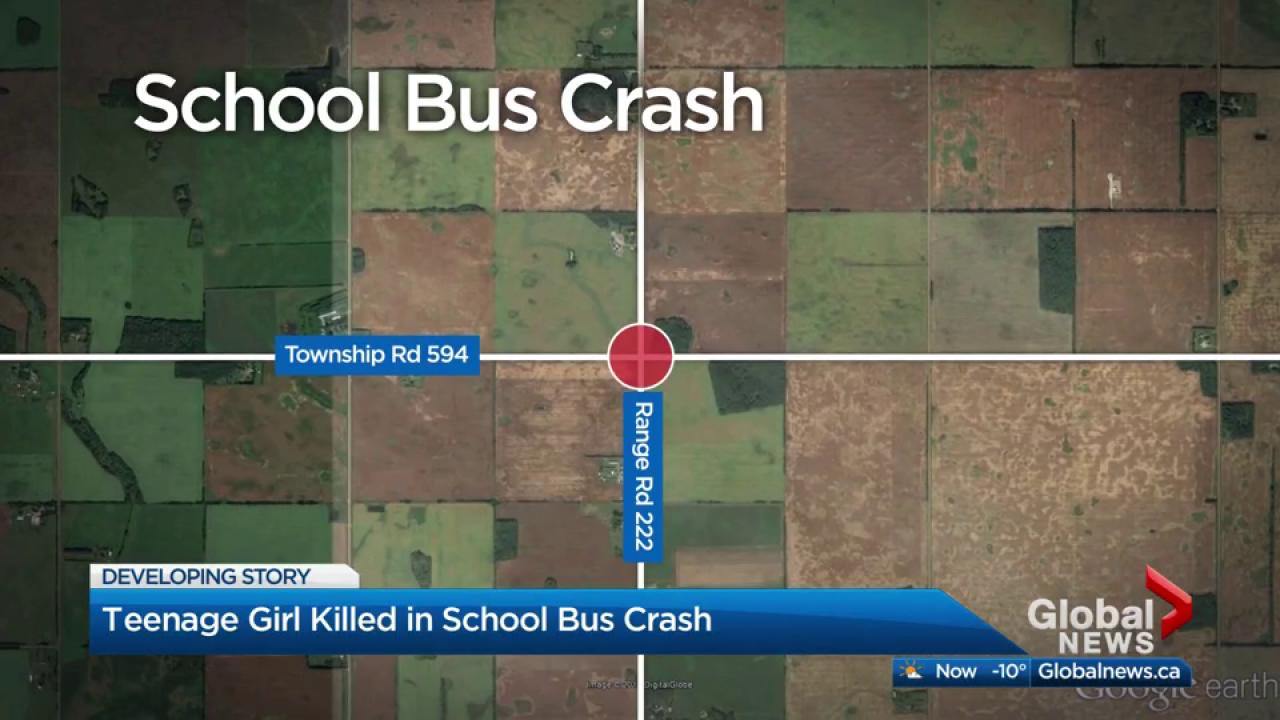 Teenage girl killed in school bus crash north of Edmonton Watch