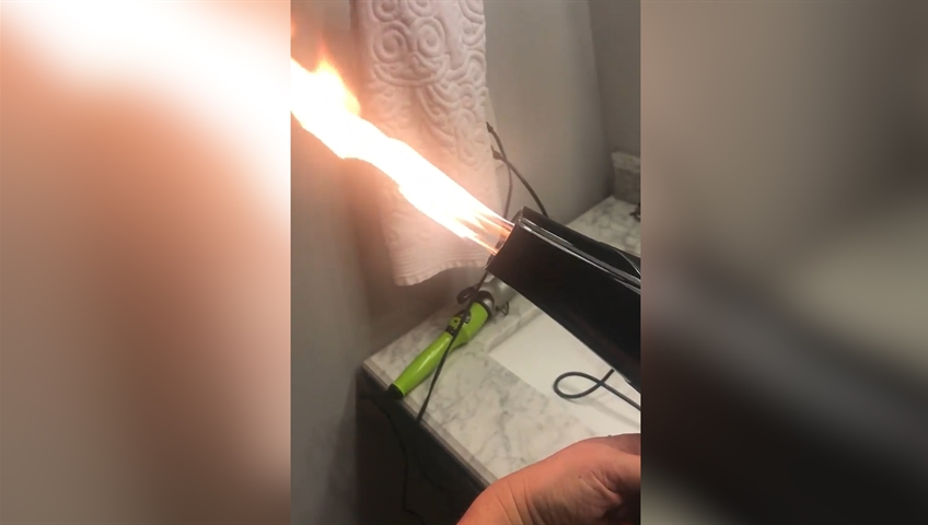 Video shows hair dryer bought off Amazon shooting fire