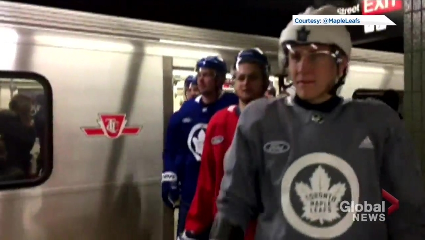 innovative design be7d9 fa01d Toronto Maple Leafs take the subway to practice at city hall in full  equipment