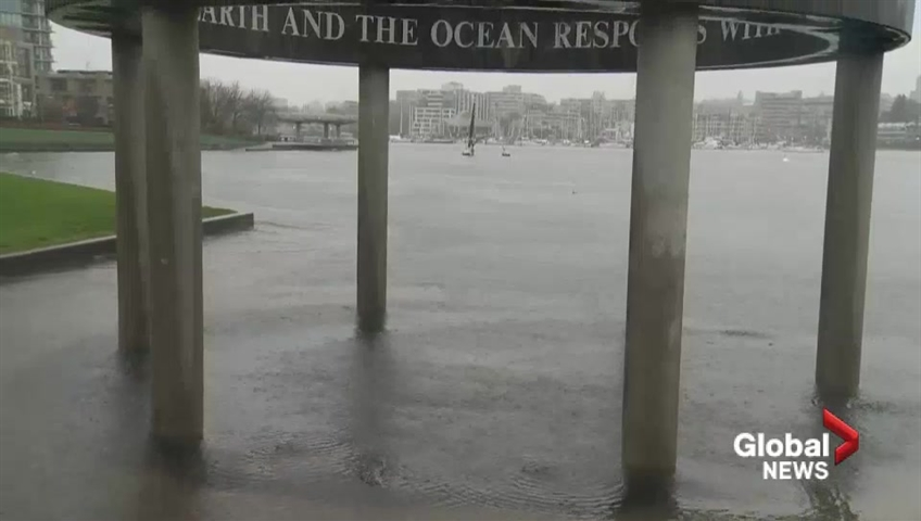 Parts of Vancouver seawall covered by king tide