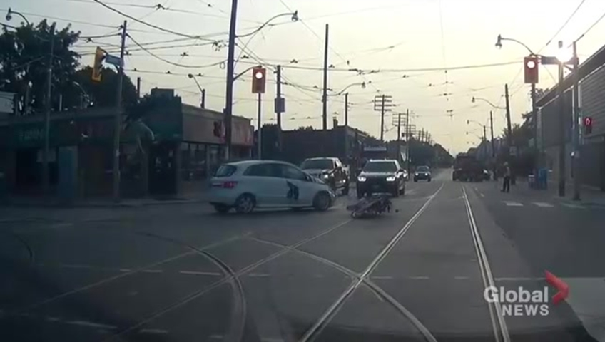 Dash cam video shows early-morning collision between car