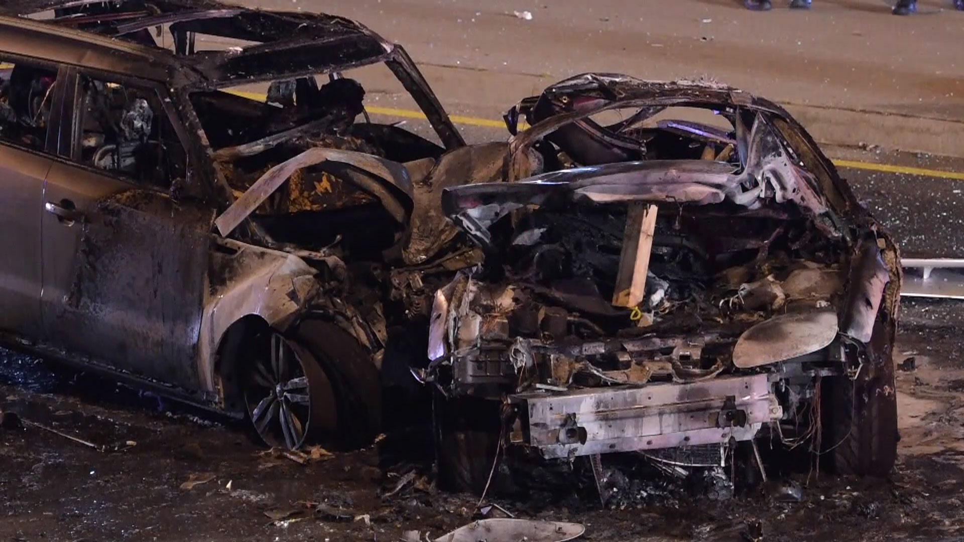 Raw video: aftermath of fiery 2-car collision in Brampton   Watch ...