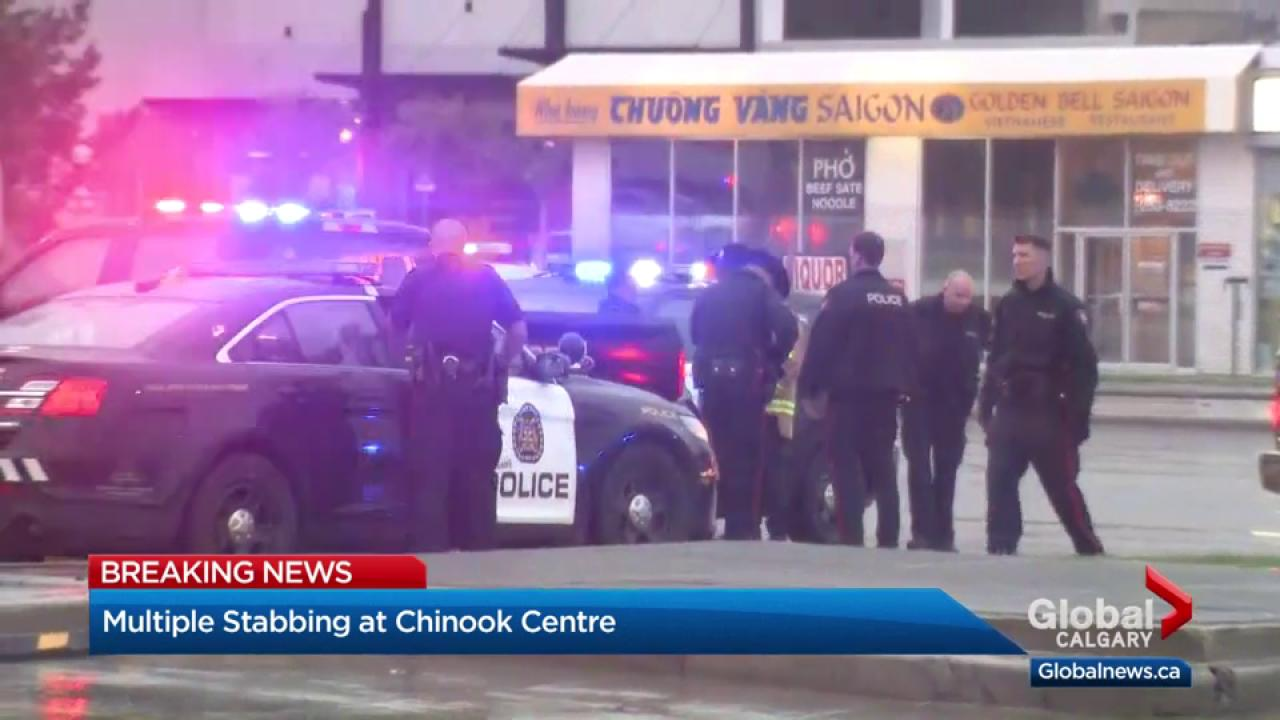3 people stabbed at calgary's chinook centre shopping mall | watch