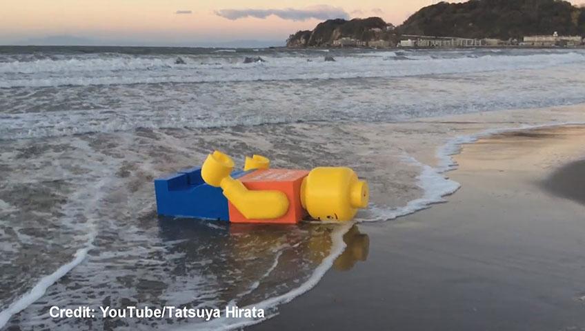 Giant Lego man washes ashore on Japanese beach