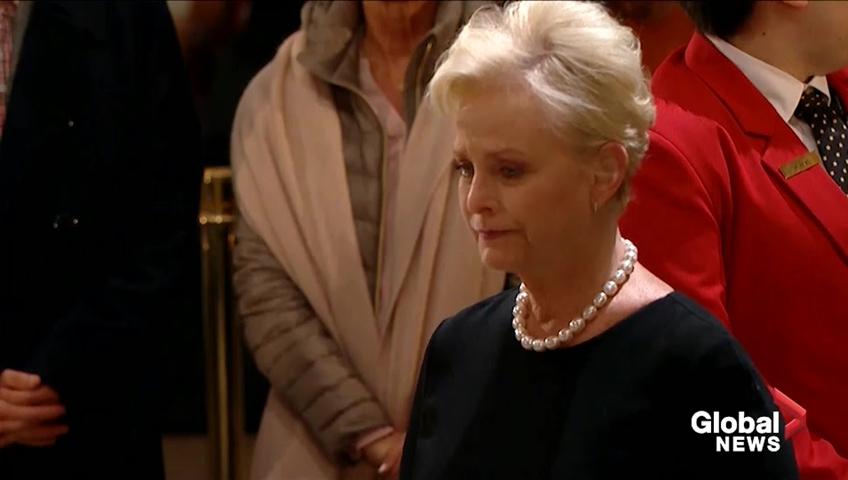 Cindy McCain pays her respect to President George H W Bush