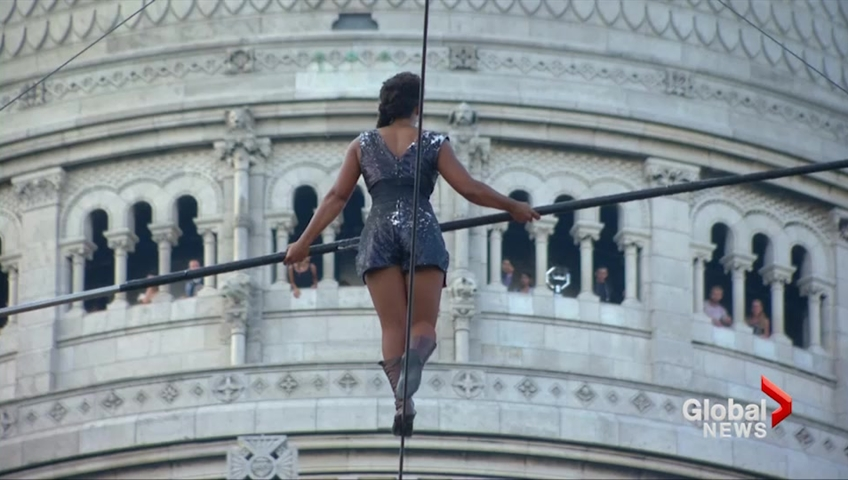 Tightrope walker ascends Paris hill on 35-metre high wire | Watch ...