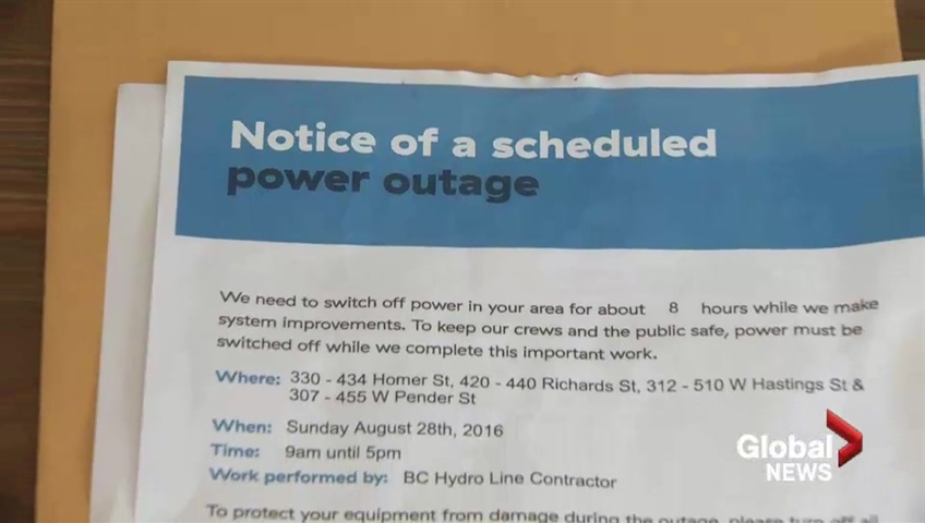 Upcoming planned BC Hydro outage has many downtown businesses outraged
