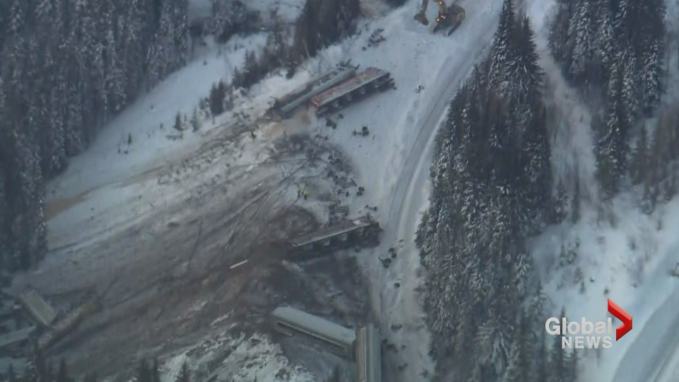 Aerial footage of fatal train derailment near Field B C