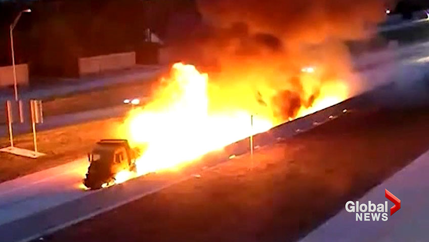 Fiery crash caught on camera as dump truck explodes into flames in Texas
