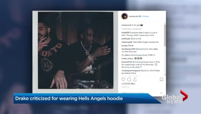 Drake under fire for Hells Angels support hoodie