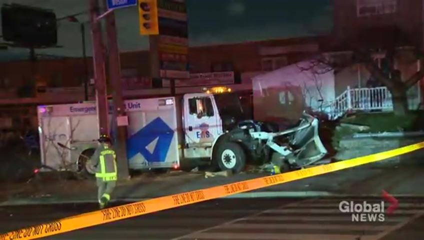 Toronto EMS truck crash into hydro pole sends driver to hospital