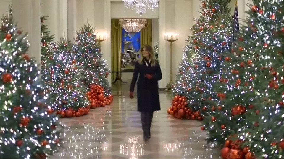 First Lady unveils White House Christmas decorations | Watch News Videos  Online - First Lady Unveils White House Christmas Decorations Watch News