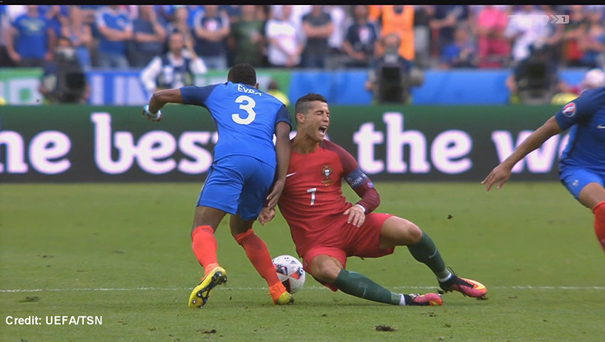 Cristiano Ronaldo Stretchered Off Of Pitch With Knee Injury In Euro 2016 Final Watch News Videos Online