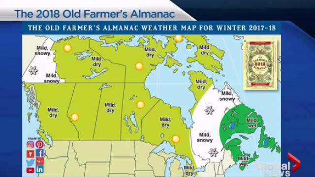 'Old Farmer's Almanac' 2018 weather predictions for Saskatchewan