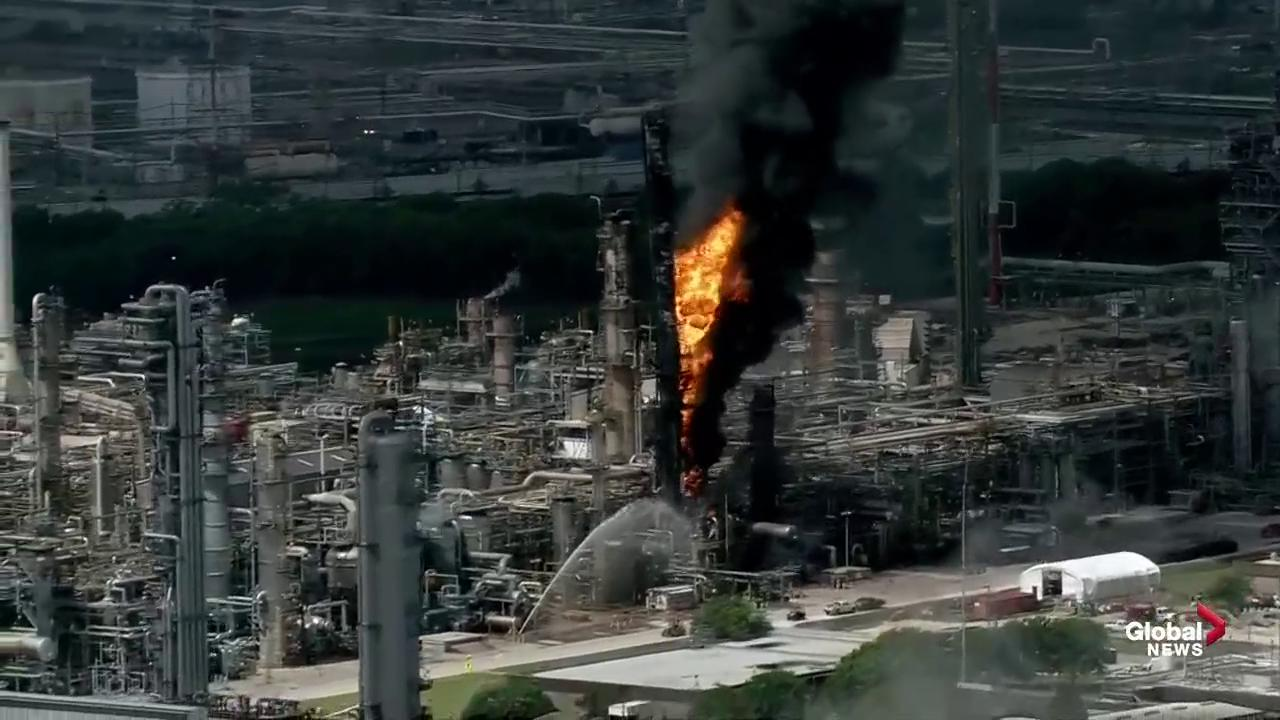 Massive fire breaks out at Exxon Mobil refinery in Houston, TX