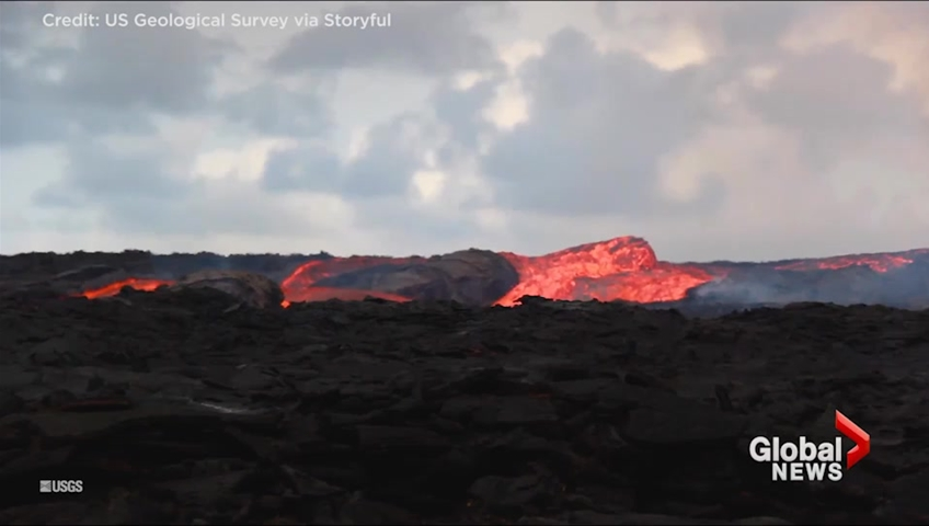 lava flows freely from hawaiian volcanic vent in puna district