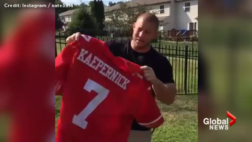 120cc4f7d9a 49ers fans burn Colin Kaepernick jerseys in anger after QB refuses to stand  during national anthem
