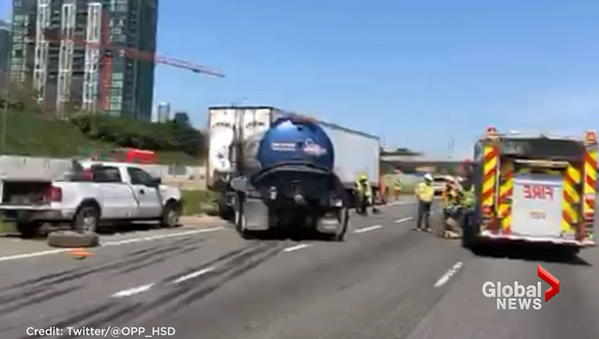 1 dead after truck crashes into parked transport truck on Hwy  403 in  Mississauga: police
