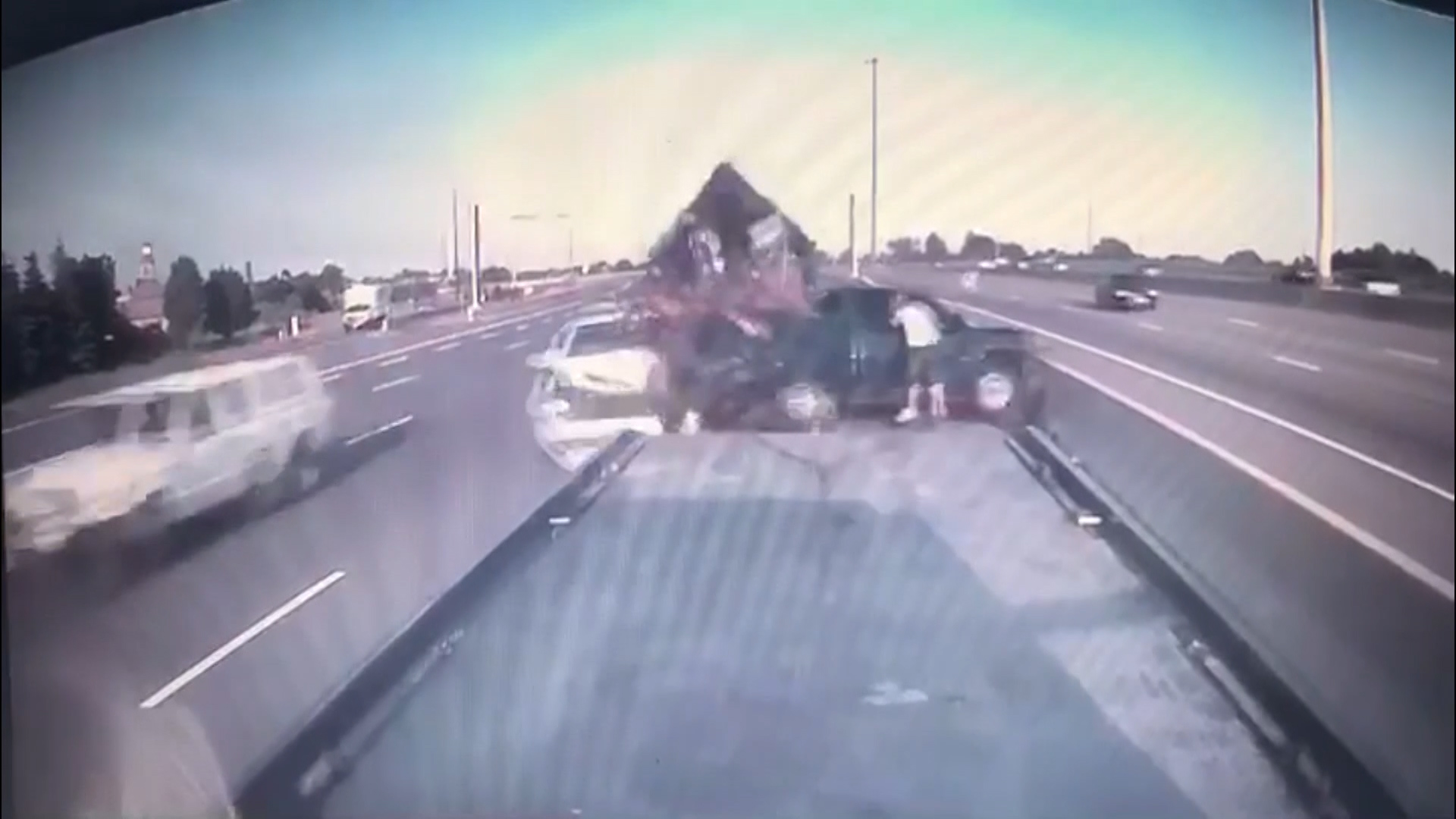 Dash cam video shows vehicle ploughing into truck initially involved in  minor collision