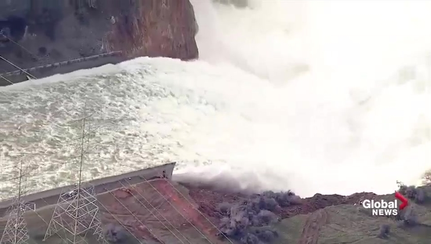 Aerial video shows damage of California's Lake Oroville dam after  overflowing